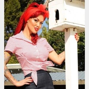 Pinup girl clothing's Ridley top in red gingham.